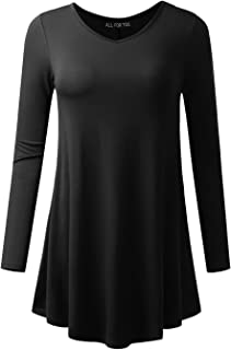 AMORE ALLFY Women's V-Neck 3/4 and Long Sleeve Flare Tunic Made in USA