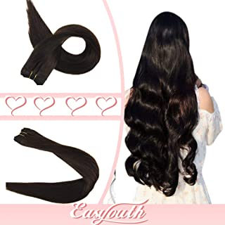 Easyouth 18 Inch Hair Weft Human Hair Extensions Color 2 Dark Brown 80 Gram Silky Straight Brazilian Hair Extensions Sew in Hair Extensions