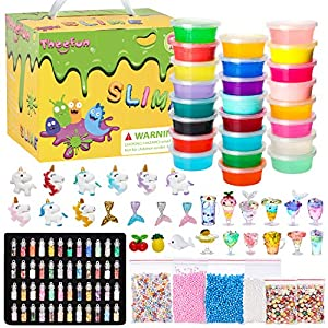 Theefun DIY Slime Kit, 108Pcs Unicorn Slime Making Kits for Girls Boys, Slime Supplies for Kids Art Craft, Includes 48 Glitter Powder, 20 Crystal Slime, 4 Light Clays, Fruit Slice, Foam Balls