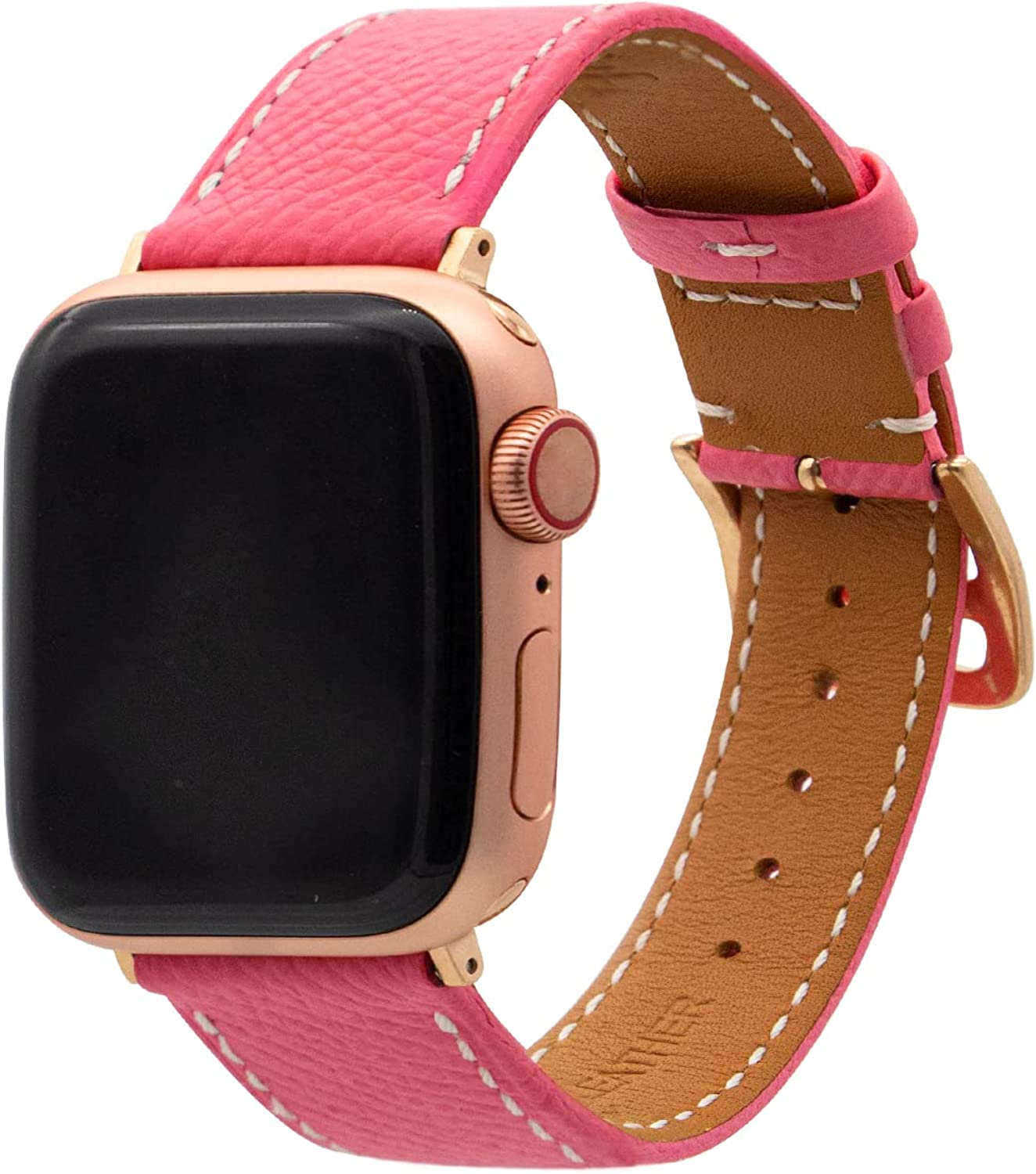 Heyon Genuine Leather Band Compatible with Apple Watch 38mm 40mm 42mm 44mm,Replacement Adjustable Watch Strap for iWatch Series 7/6/5/4/3/2/1/SE
