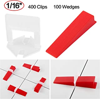 Winload Tile Leveling System, 1/16 inch (1.5mm) 400pcs Clips Plus 100pcs Reusable Wedges, Self Leveling Plastic Tile Spacers, T Lock Leveling System for Floor and Wall Ceramics of Bathroom Showroom