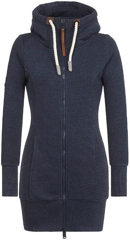 PLENTOP Women's Long Fleece Hoodie Jacket Tunic Sweatshirt Casual Zip Up Hoodies with Pockets S-5XL