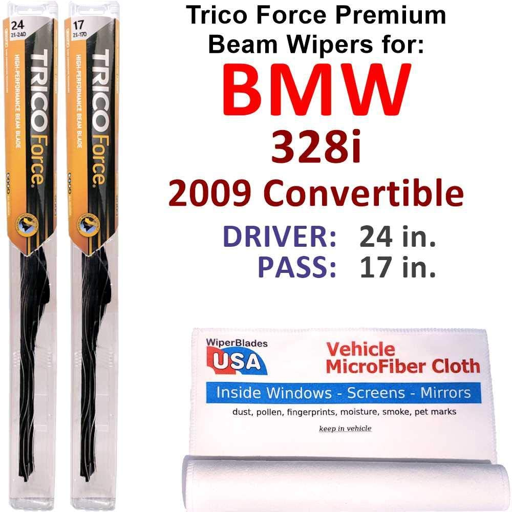 Premium Beam Wiper Luxury goods Blades for 2009 Set Convertible BMW Don't miss the campaign 328i Tric