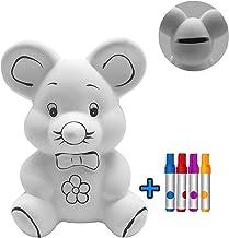Hucha DIY Ratón para Pintar Kit Rotulador para Niños y Accesorios Infantiles - Colores y Hucha| Regalo Original Cumpleaños y Fiestas