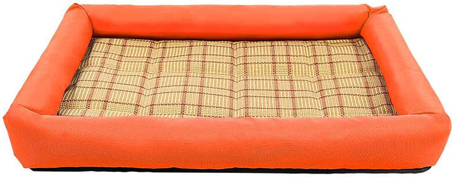 GHMM Pet bed quality PP cotton oxford waterproof nonslip soft comfortable cool breathable easy to wash Pet bed (color   orange, Size   M)