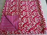 Tribal Asian Textiles IKAT - Colcha Kantha de tamaño King Kantha, manta Kantha, funda de cama, colcha King Kantha, ropa de cama bohemia tamaño 228 x 258 cm 04