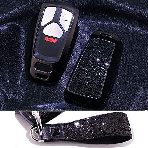 Royalfox(TM) Luxury 3 Buttons 3D Bling Smart keyless Entry Remote Key Fob case Cover for Audi A3 A4 A5 A6 Q3 Q5 Q7 C5 C6 B6 B7 B8 TT 80 S6 A6 C6 Accessories,with Keychain (Black)