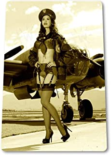 TIN Sign B113 Bomb Dropper Hot Pin-Up Girl Aviation WW2 Historic Metal Decor