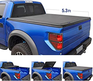 Tyger Auto T3 Tri-Fold Truck Tonneau Cover TG-BC3D1013 Works with 2005-2011 Dodge Dakota 2006-2008 Mitsubishi Raider | Fleetside 5.3' Bed | Fit Models Without Utility Track System