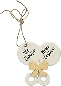 Twin Baby's First Christmas Rattle Ornament