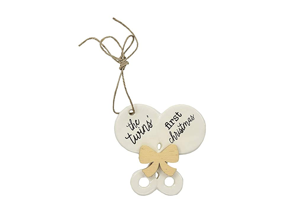 Mud Pie Twin Baby's First Christmas Rattle Ornament (White) Accessories Travel