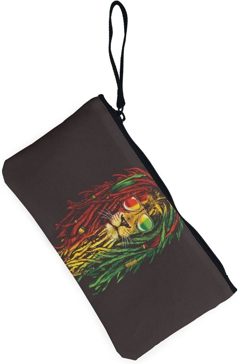 AORRUAM Cool Lion Canvas Coin Purse,Canvas Zipper Pencil Cases,Canvas Change Purse Pouch Mini Wallet Coin Bag