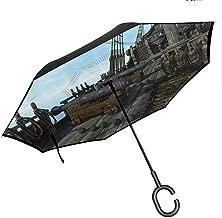 Wdkwkl Wanderlust Decor Portable Reverse Umbrellas Pattern with Vintage Globe World Map Airship Rope Knots Ribbon Retro Illustration Windproof UV Protection Umbrella, Beige Olive Green