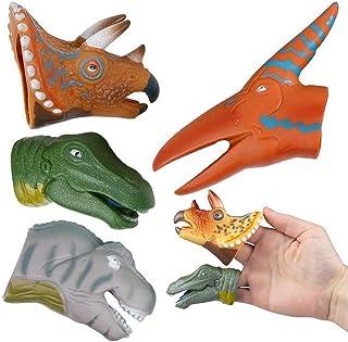 AQKILO Dinosaur Hand Puppet Novelty Props for The Finger Puppet Show Animal Finger Puppet Cyan