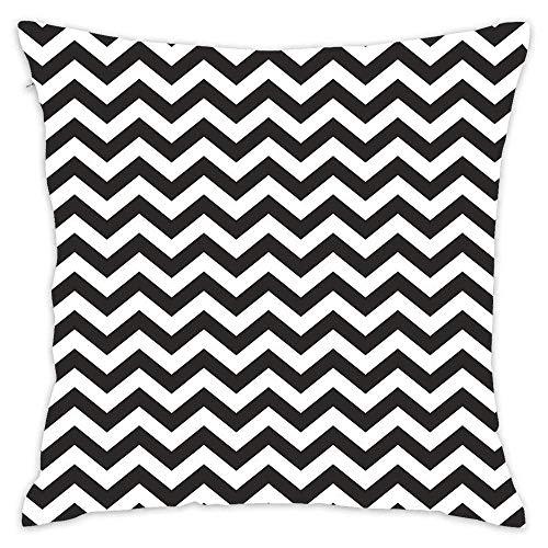 Twin Peaks Habitación roja Piso Zig Zag Patrón Negro Blanco Lodge Square Throw Pillow Funda de almohada Corta felpa suave Funda de cojín suave para sofá Dormitorio Coche 18 x 18 pulgadas / 45 x 45 cm