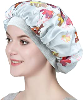 Satin Bonnet for Sleeping Double Layer Night Cap with Soft Elastic