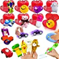 AMENON 28 Pack Cards with Toys, Prefilled Valentines Heart Kids Toys Bulk for School Classroom Exchange Prizes Party Favors Gift (7 Different Design Toys) by AMENON