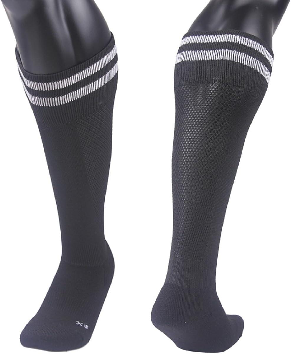 Lovely Annie Girls' 2 Pairs Knee High Sports Socks for Baseball/Soccer/Lacrosse 003 XS(Black)