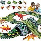 Seciie Dinosaurier Spielzeug, Autorennbahn Twister Tracks Auto, mit 157 Stück Zubehör - 5 Dinosaurier Figuren,1 Fahrzeuge, 2 Bäume etc. Dino Spielzeug für Kinder