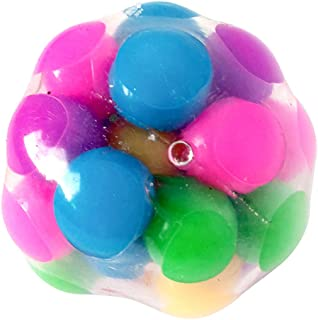 Squeeze Ball Toy,Squishy Rainbow Stress Ball,Fidget Toy,Stress Relief Ball for Adults,Stress Balls for Kids,DNA Colorful Beads(1 pc)
