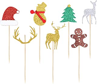 7pcs Glitter Snowman Elk Xmas Tree Gingerbread Man Christmas Cake Toppers Picks For Christmas Birthday Cake Decoration Sup...