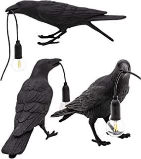 PHLPS Lámpara de Mesa Crow, lámpara de Mesa con Forma de Ave Artificial, lámpara de Mesa LED nórdica, lámpara de Escritorio de Resina de Dormitorio, lámparas de Mesa de Art déco de Mordern