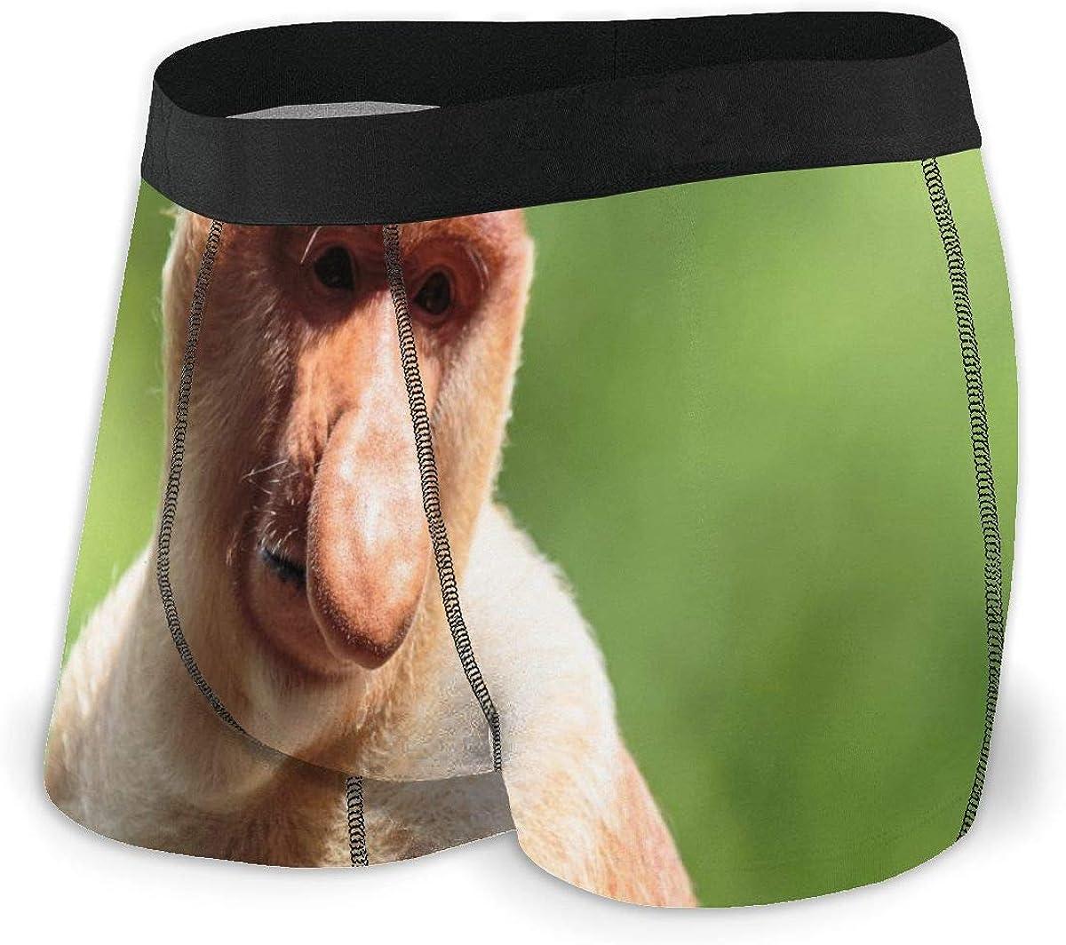 Randolph Wordsworth Mens Boxer Briefs Funny Proboscis Monkey,Long-Nosed Breathable Underwear