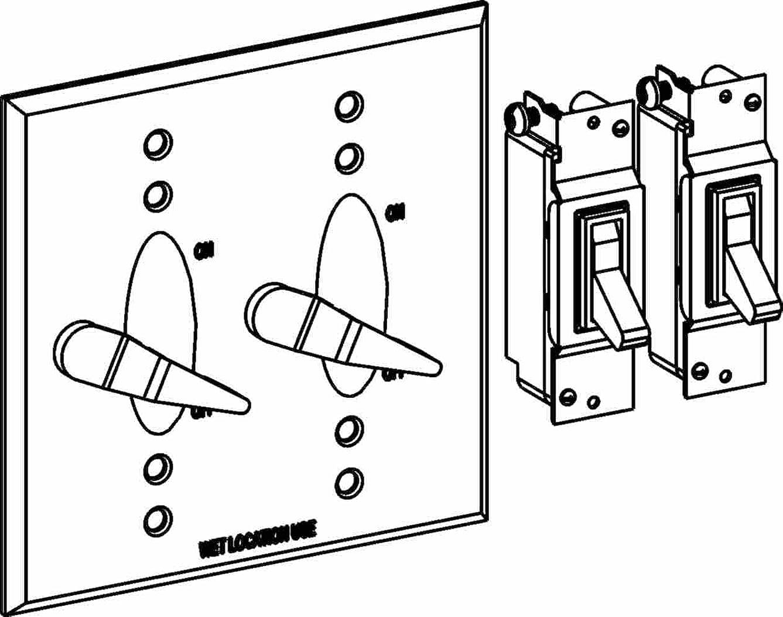 腰ほこり気性オービット2?C-2sw-br Electricボックスカバー、レバースイッチW / 15?aスイッチ亜鉛Weatherproof?–?2-gang?–?ブロンズ