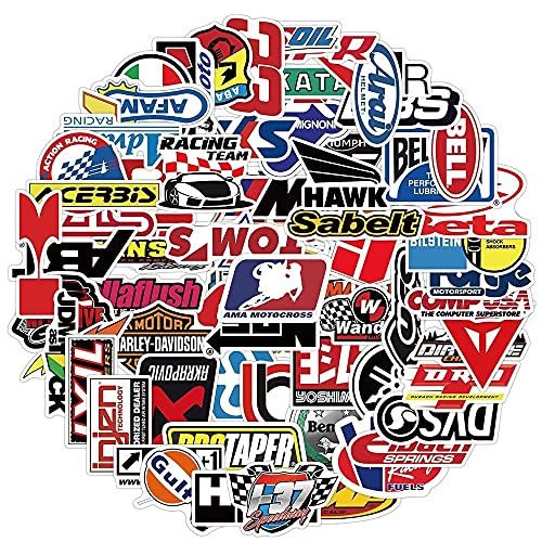 WWJIE Modificar la Etiqueta engomada del Logotipo de Carreras clásico Juguete monopatín portátil Motocicleta Locomotora Casco Etiqueta 100PCS