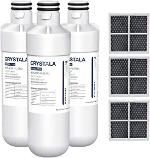 Crystala Filters Water Filter LT1000P, Water Filter ADQ747935 for LG LT1000P/PC/PCS, LT1000PC, LT-1000PC, MDJ64844601, Kenmore 9980 Water Filter and LT120F ADQ73334008 Fresh Air Filter