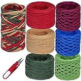 7 Rolls 448 Yards Christmas Color Raffia Ribbon Paper String Ribbon Raffia Twine Yarn 1/4' Wide Red Green Blue...