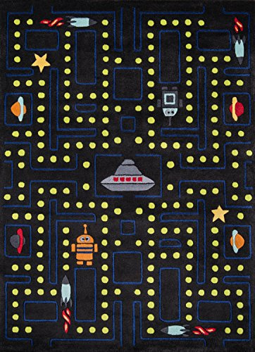 Momeni Rugs Lil' Mo Whimsy Collection, Kids Themed Hand Carved & Tufted Area Rug, 5' x 7', Arcade Black