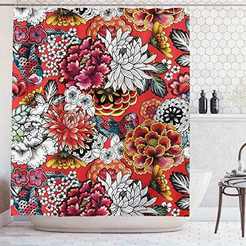 Ambsunny Boho Bohemian Floral Duschvorhang Bunte Blumen Frühling Pflanzen Indian Artwork Stoff Badezimmer Dekor Set mit 12 Haken 152,4 x 180,9 cm, Rot Gelb
