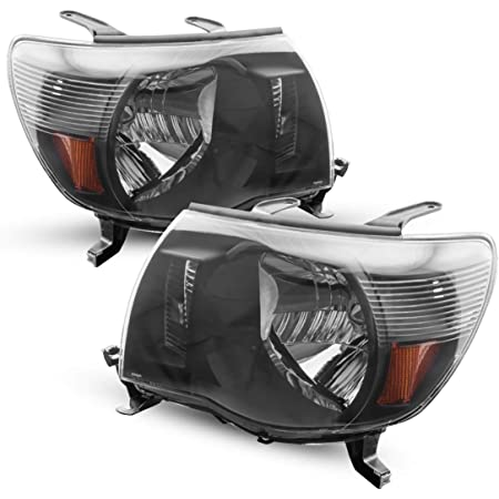 Tacoma Headlight from KAC, Replacement Headlight Assembly Kit for 2005-2011 Tacoma with Sport Package black housing amber reflector clear lens Passenger and Driver Side