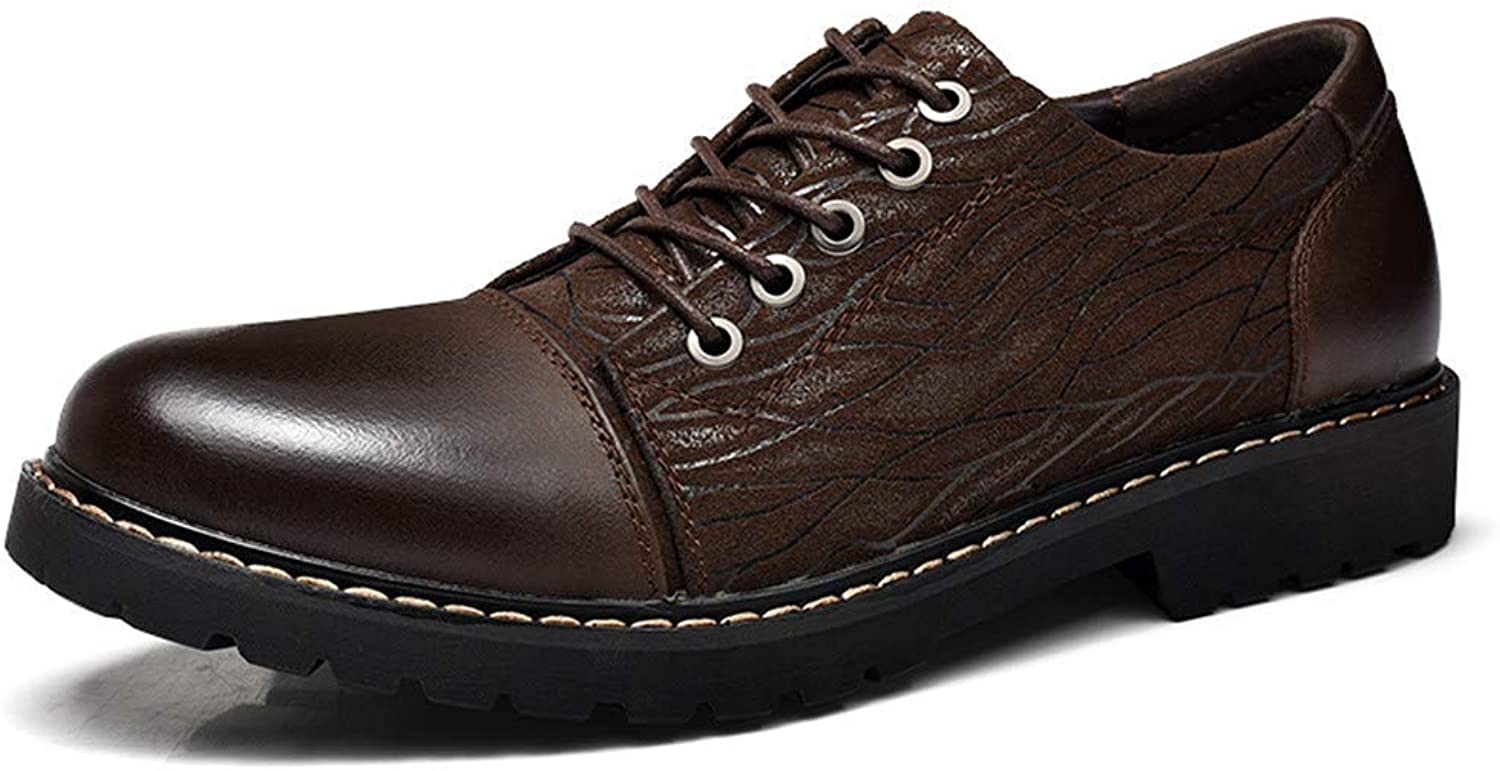 FuweiEncore 2018 Mens Business Oxford shoes, Casual Personality Embossed OX Leather Soft And Bendable Formal shoes (color  Black, Size  44 EU) (color   Brown, Size   44 EU)