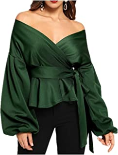 DEEBAI Women's Elegant V Neck Puff Sleeve Tunic Tops Belted Wrap Dressy Shirt Blouse