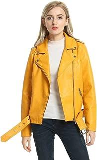 SECOND COLOR Ladies Faux Leather Jacket, Lapel Collar Motorcycle Zip Up Long Sleeve Moto Biker Short Coat Jacket Outwear