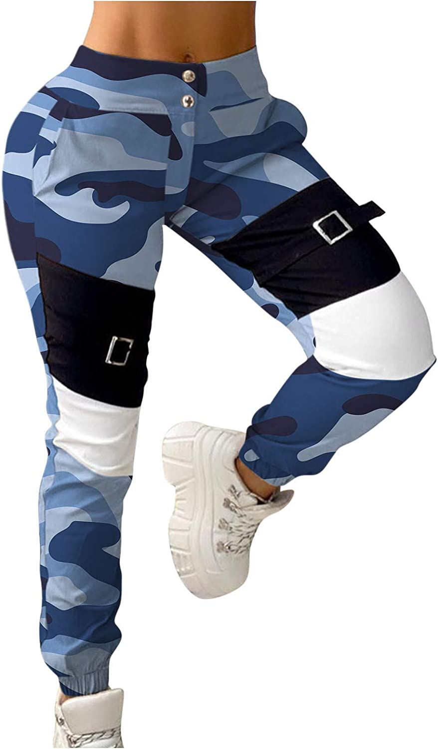Camo Cargo Pants for Women Button Fly Tactical Jogger Sweatpants Casual Tapered Premium Soft Stretch Casual Pants