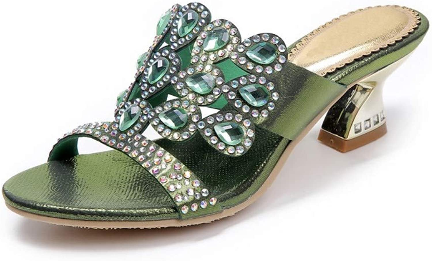 IWlxz Women's Polyurethane Spring Summer Fashion Boots Sandals Chunky Heel Open Toe Rhinestone Crystal Sparkling Glitter gold Dark bluee Green Buckle Party & Evening