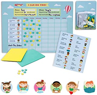 mamig Responsibility Chore Chart for Kids - Premium Quality Magnetic Achievement Chore Chart Board for 2 Children – Colorful Bulletin Magnet Board – IncludesTask Magnets,Two-Color Star Rewards