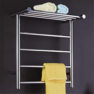 Stainless Steel Towel Warmer, Curved Electric Heated Towel Rail for Bathroom Wall Mounted Square Bars Drying Rack for Kitchen Hotel Home Space Saving Stainless Steel