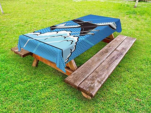 ABAKUHAUS Luchthaven Tafelkleed voor Buitengebruik, Pop Art Take Off Plane Dots, Decoratief Wasbaar Tafelkleed voor Picknicktafel, 58 x 120 cm, Azure Blue Sky Blue