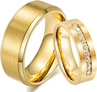 ringheart Two Rings His and Hers Yellow Gold Plated Titanium Steel Couple Rings Mens Wedding Band Cz Womens Wedding Ring