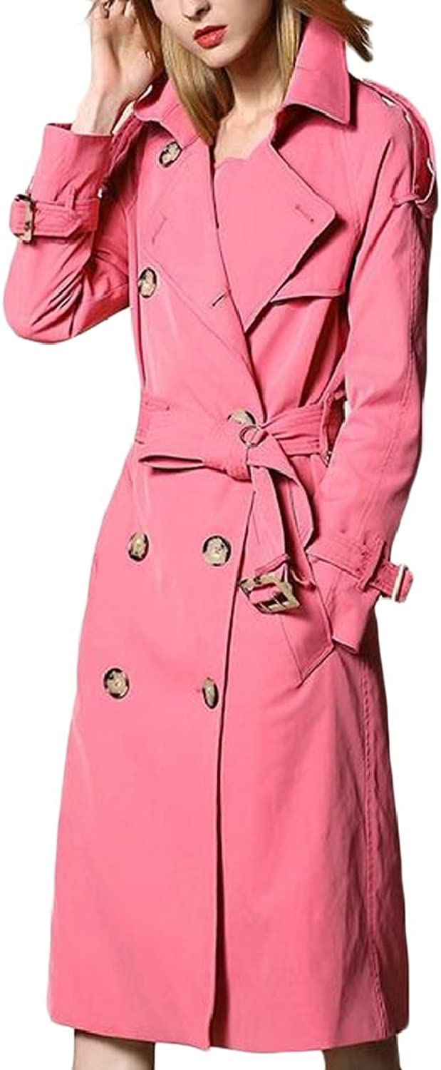 Ouxiuli Women Classic Notched Lapel DoubleBreasted Trench Coat Outwear with Belt