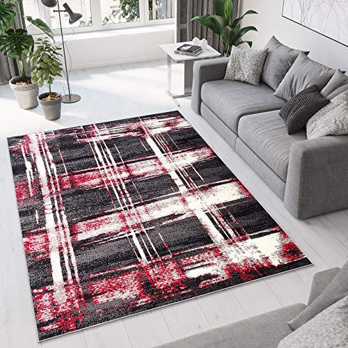 Tapiso Dream Alfombra de Salón Habitación Diseño Moderno Negro Rojo