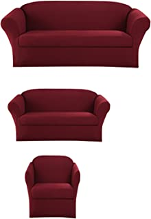 Sapphire Home 3-Piece SlipCover Set for Sofa Loveseat Couch & Arm Chair, Form fit Stretch & Wrinkle Free, Furniture Protector Cover Set for 3/2/1 Cushion, Polyester Spandex, 3pc Slipcover, Burgundy