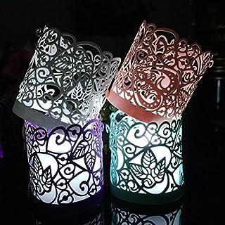 CozyT 50 Pack Tea Light Votive Wraps Paper Candle Holder Laser Cut for Decorative Wedding Party