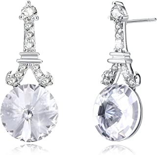 Promices Swarovski Crystal Earrings for Women 925 Sterling Silver Drop Earrings