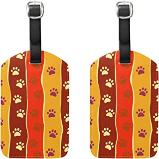 MASSIKOA Cats Dogs Paw Footprint Stripes Cruise Luggage Tags Suitcase Labels Bag,2 Pack