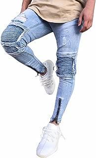 ZOMUSA Men's Ripped Slim Fit Motorcycle Vintage Style Denim Jeans Hip Hop Streetwear Pants